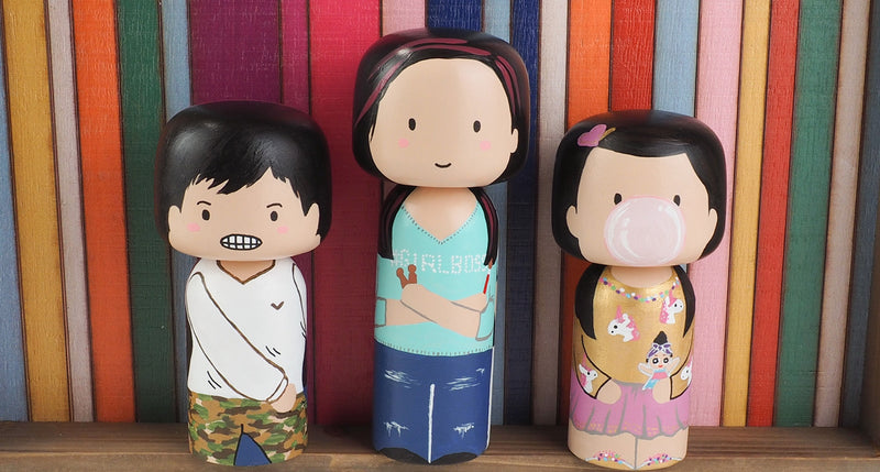 Customized Family Portrait 2-in-I Kokeshi Dolls - Large Peg Dolls