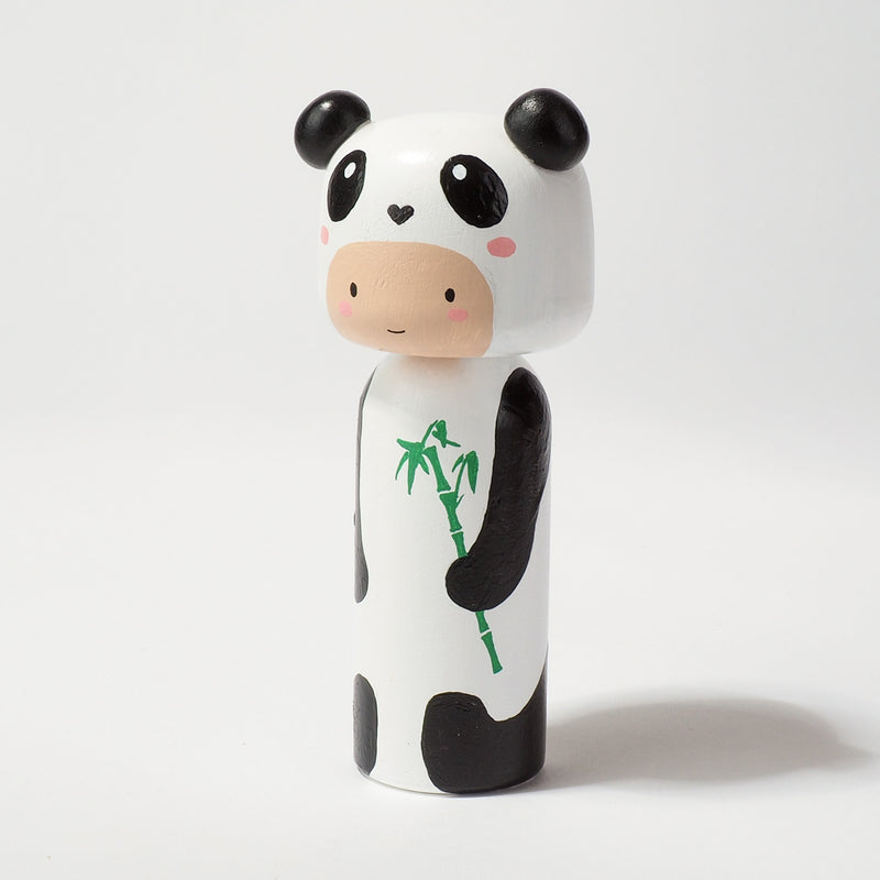 Kokeshi doll in Panda costume!  This cute panda doll will warm your heart or your special someone.  Perfect gift for anyone who are in love with panda!   All dolls are hand-painted with love.  Collect them all, other animals are also available.