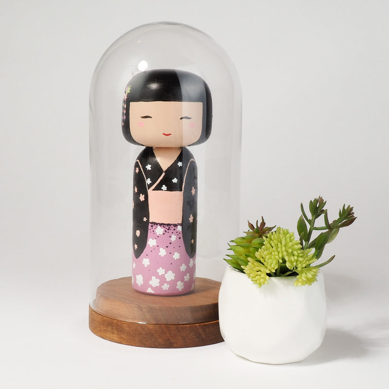 Hand-painted Japanese wooden Kokeshi doll! This cute Japanese doll will warm your heart or your someone special.  All dolls are hand-painted with love.