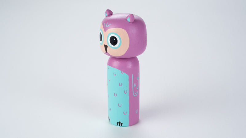 Owl Kokeshi doll!  This cute owl doll will warm your heart or your special someone.  Perfect gift for anyone who are in love with owl and woodland animals!   All dolls are hand-painted with love.  Collect them all, other animals are also available.