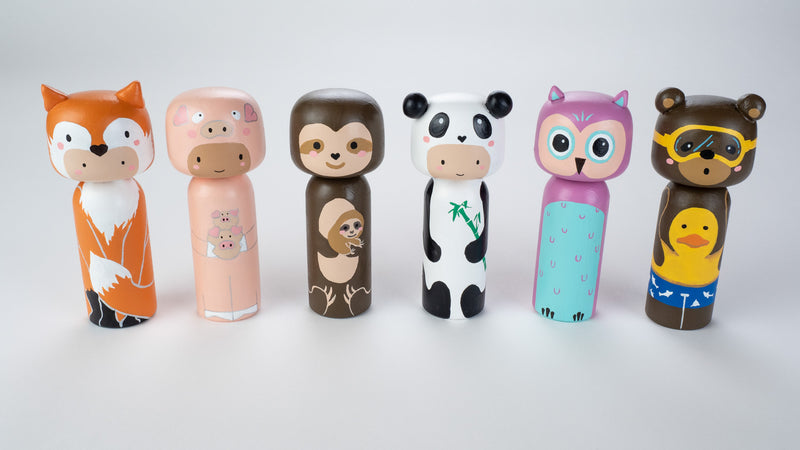 Sloth and baby sloth wooden Kokeshi doll