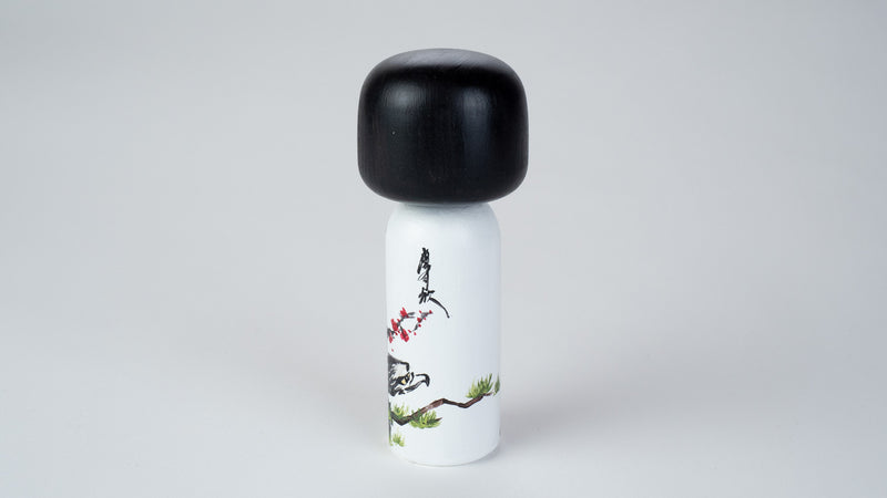 Chinese Painting - Birds on a Wooden Kokeshi Doll