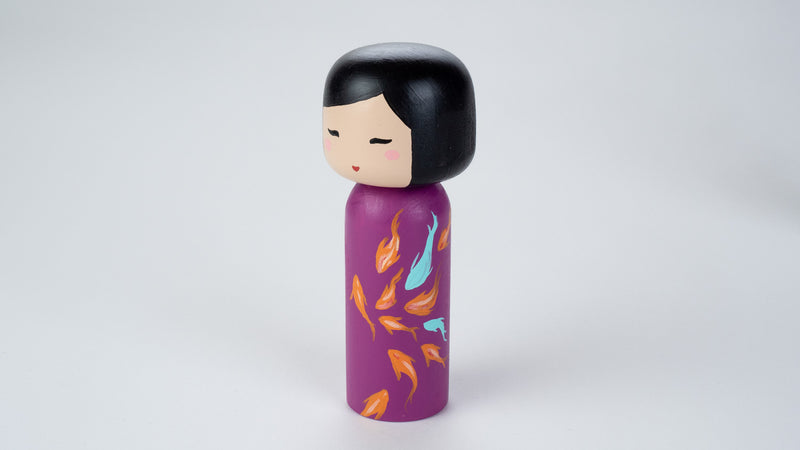 Chinese Painting - Fish on a Wooden Kokeshi Doll