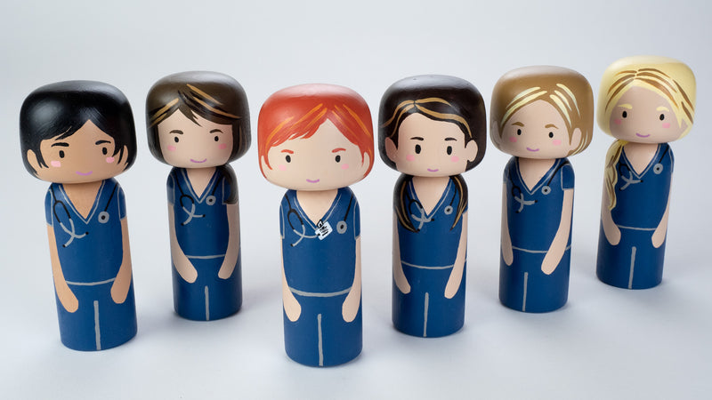 Nurse Kokeshi and Peg doll