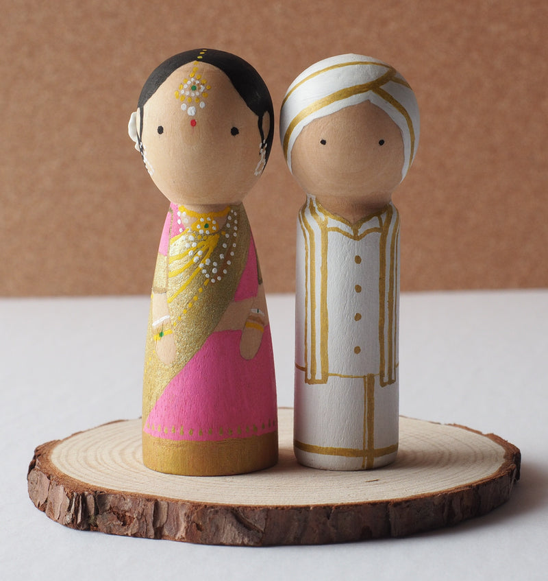 Customized wedding cake topper!  These cute peg dolls show the unique sides of you and your partner.  A great touch of personality to your wedding.  They will WOW your guests.  Also, what a great keepsake it would be!  These are also great for anniversary gifts, couples' gifts, bridal showers, or any other occasions.