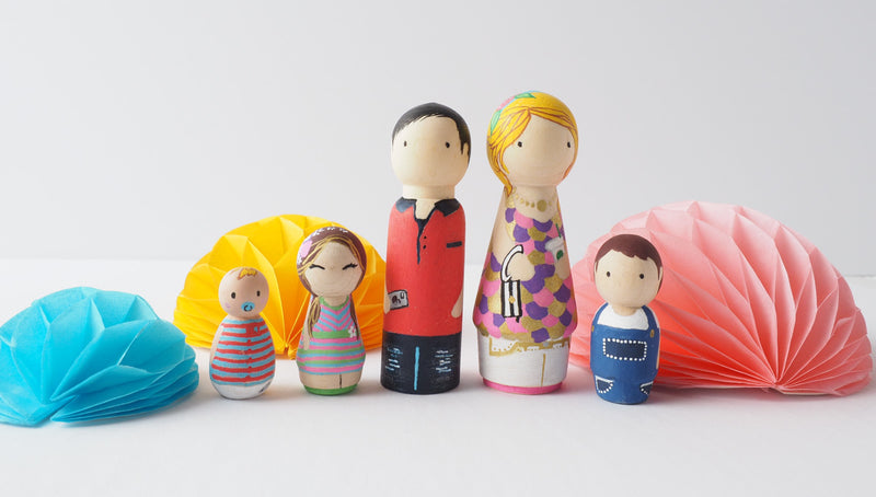 This Mother's Day, give something unique and personalized.  Custom peg dolls of your family!  They are hand-painted that show the uniqueness of each individual in your family.  This will definitely touch her heart and bring smiles, may be even happy tears.   These are also great for grandparent's gifts, birthdays, anniversary gifts, couples' gifts, or any other occasions.