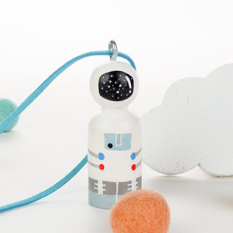 Personalized Peg Doll Necklace and Ornament - Astronaut