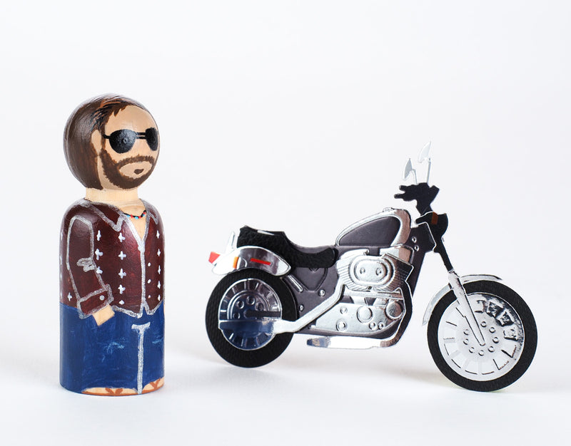 Motorcycle Peg Dolls - Family Peg Dolls.  Give something unique and personalized. Custom peg dolls of your family, friends, or colleagues! They are hand-painted that show the uniqueness of each individual with their hobbies, occupations, or different seasons of the year. This will definitely touch the heart and bring smiles. These are great for birthdays, anniversary, parent's gifts, grandparent's gifts, retirement, graduations, communion, colleague's going away gift, or any other occasions.