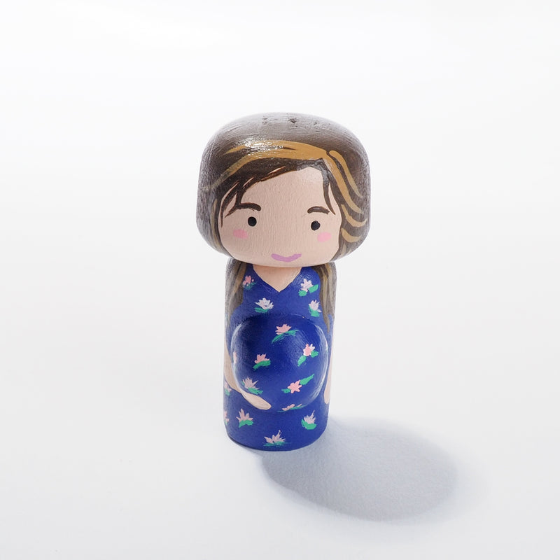 Pregnant Peg doll, custom family peg doll and Kokeshi