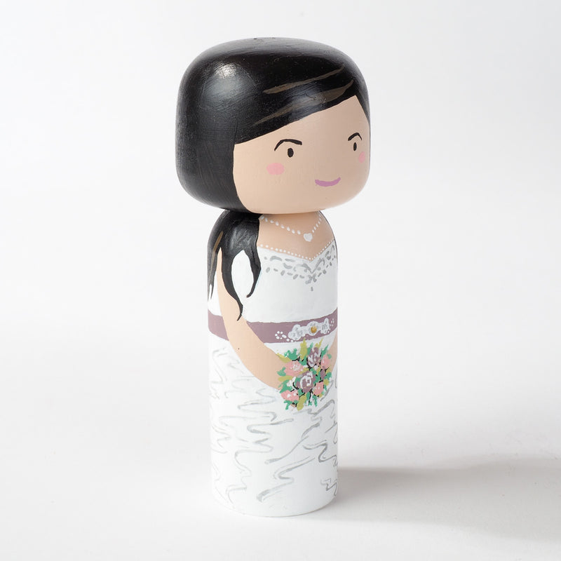 Customized wedding Kokeshi dolls!  These cute Kokeshi dolls show the unique sides of bride and groom.  A great touch of personality to your wedding.  What a great keepsake it would be!  These are also great for Wedding gifts, anniversary gifts, couples' gifts, bridal showers, or any other occasions.
