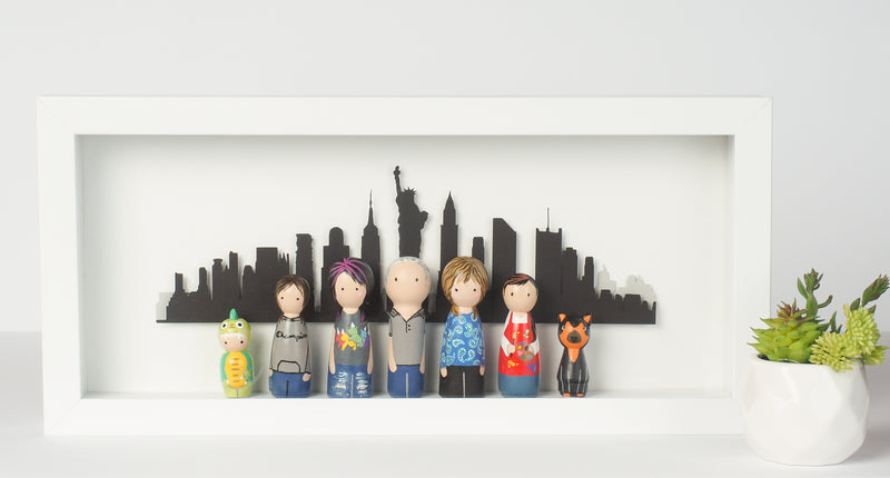 Custom family Peg doll or Kokeshi with city landscape - Toronto, Canada