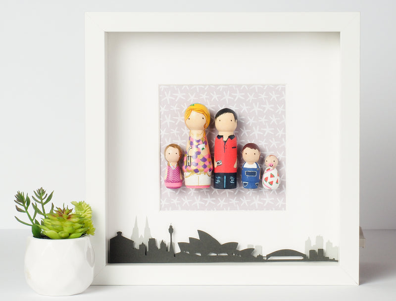 Personalized family peg doll portrait with city landscape - London, UK