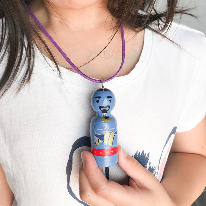 Personalized Peg Doll Necklace and Ornament - Genie