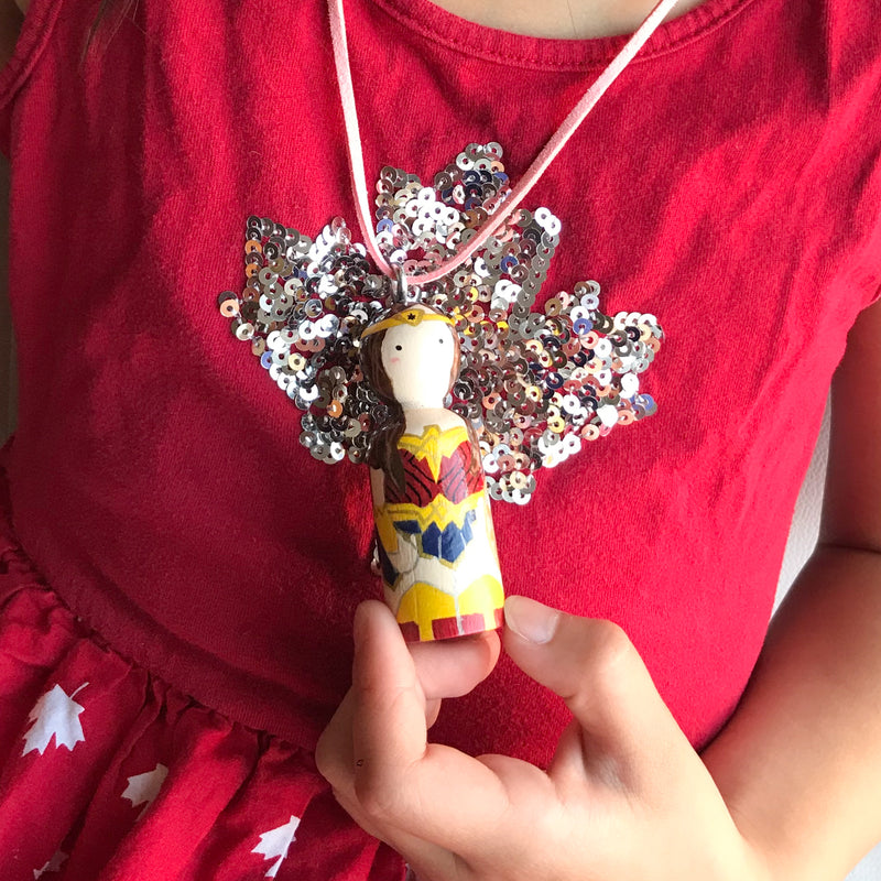 Personalized Peg Doll Necklace and Ornament - Wonder woman