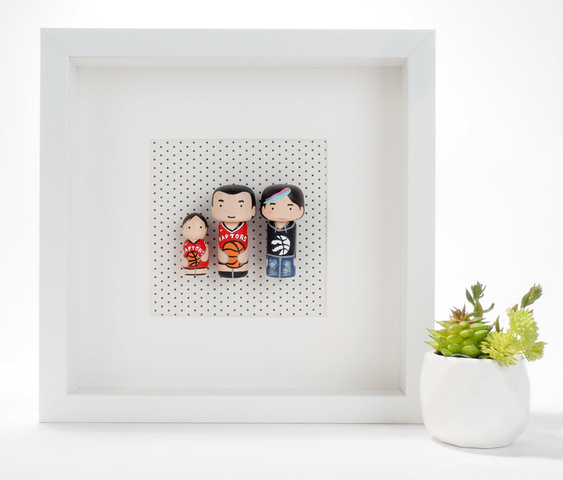 Toronto Raptors fans - Give something unique and personalized.  Custom peg and Kokeshi dolls of your family!  They are hand-painted that show the uniqueness of each individual in your family.  This will definitely touch the heart and bring smiles, may be even happy tears to your family.