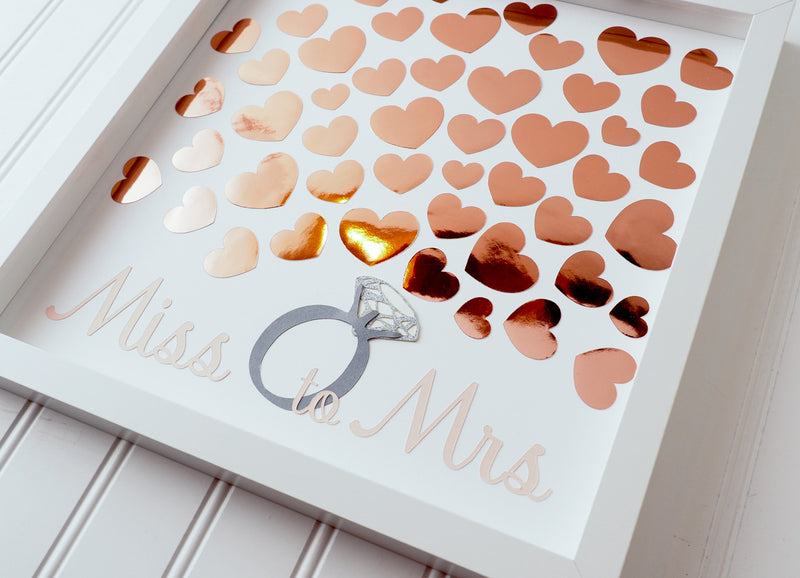 "Throwing a bridal shower?  Have your guests sign a rose gold heart and preserve the beautiful memories for many years to come.  This 12""x12"" Bridal shower guest book alternative consist of up to 50 hearts.  Other sizes are also available."