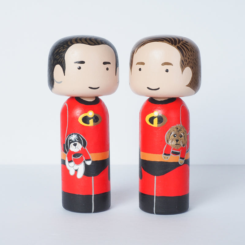 The Incredibles - custom family Kokeshi portrait
