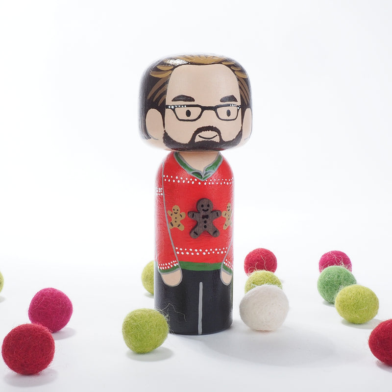 Ugly Christmas Sweater Family Portrait Kokeshi Dolls