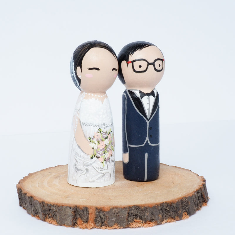 Wedding Peg dolls, custom wedding portrait cake topper