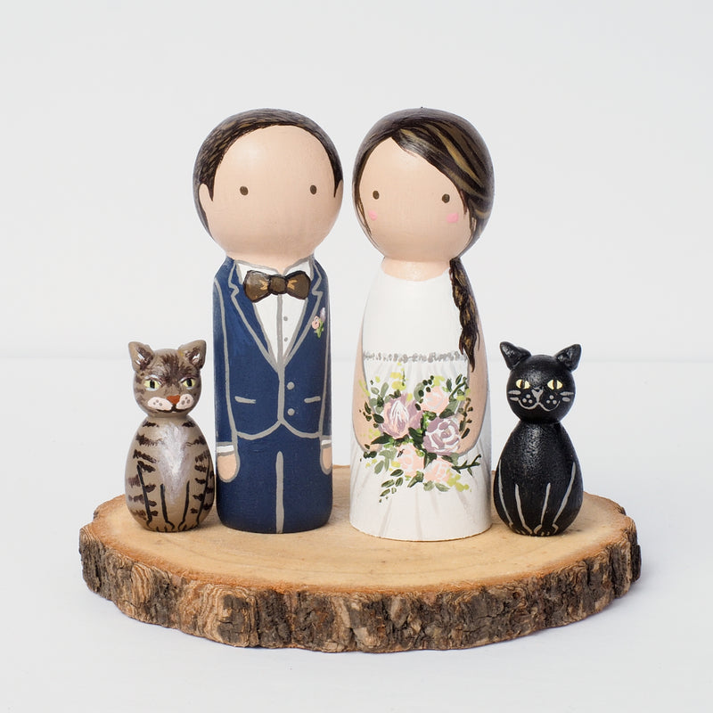 Wedding Portraits with pets on Peg dolls - cake topper