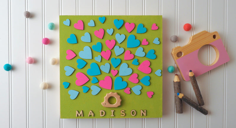 Baby Hedgehog Shower Wooden Guest book!  Have your guests sign a heart and hang this guestbook in the baby's room after the shower.  Great keepsake and nursery décor!