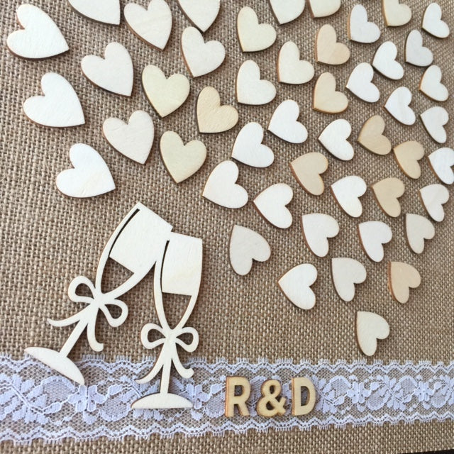 Burlap and Lace Wedding Guest Book Alternative! Have your guests sign a wooden heart and hang this guestbook after the wedding to preserve beautiful memories of your special day for many years to come.