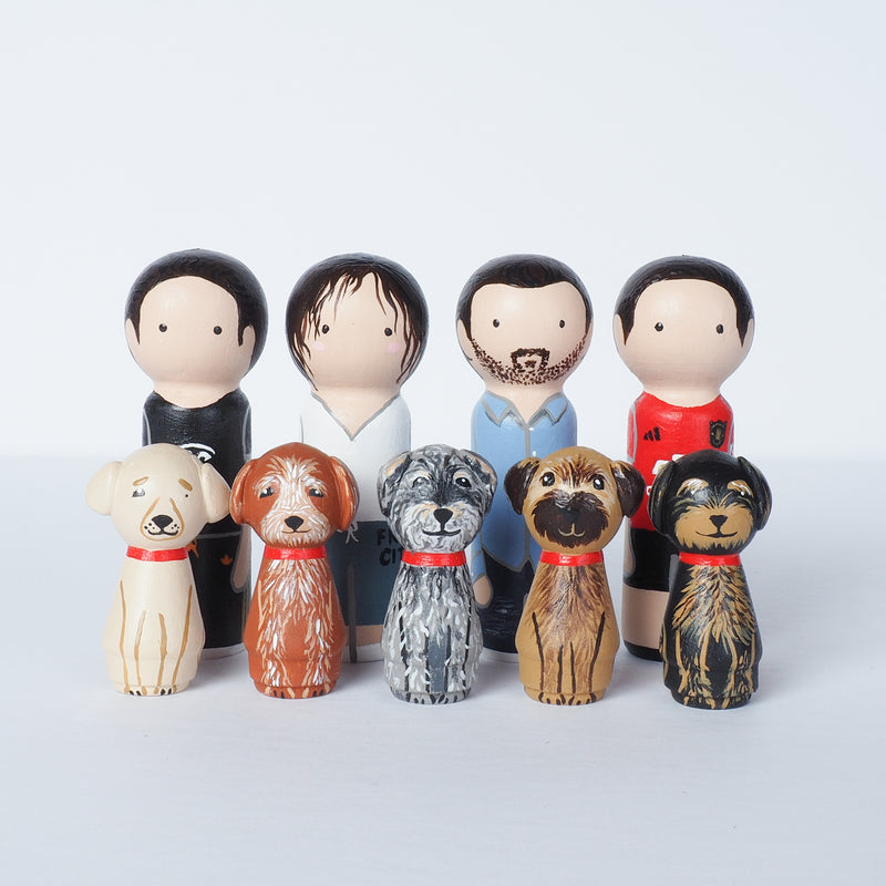 Family Peg Dolls with pets