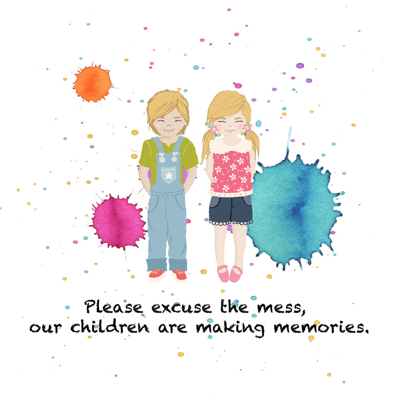 "A portrait of your child(ren) is a great keepsake! ""Please excuses our mess.  The children are making memories."" This is a great portrait to display at your home."