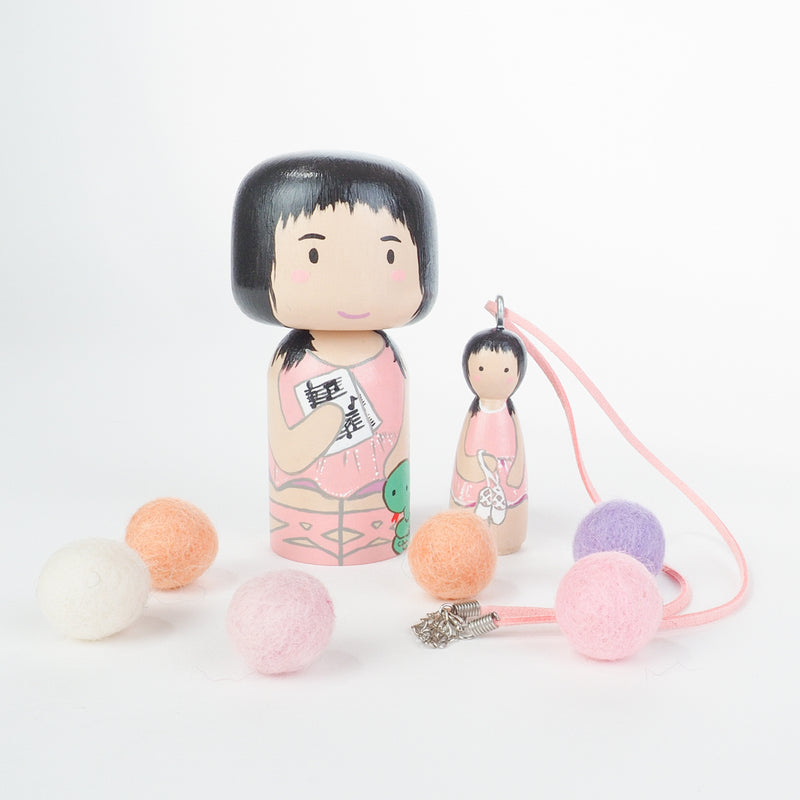 Personalized Peg Doll Necklace and Kokeshi doll set