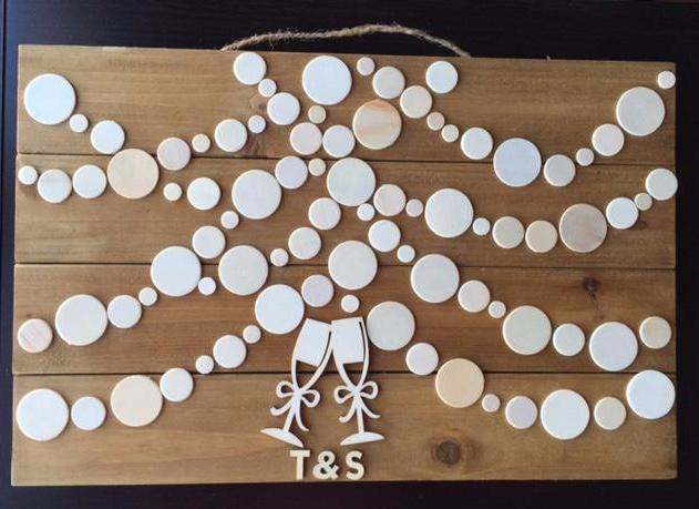 Wooden rustic Wedding Guest book. Have your guests sign a wooden circle and hang this guestbook after the wedding or bridal shower to preserve beautiful memories of your special day for many years to come.