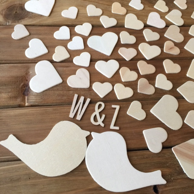 Wooden Wedding Guest Book Alternative -Love Birds