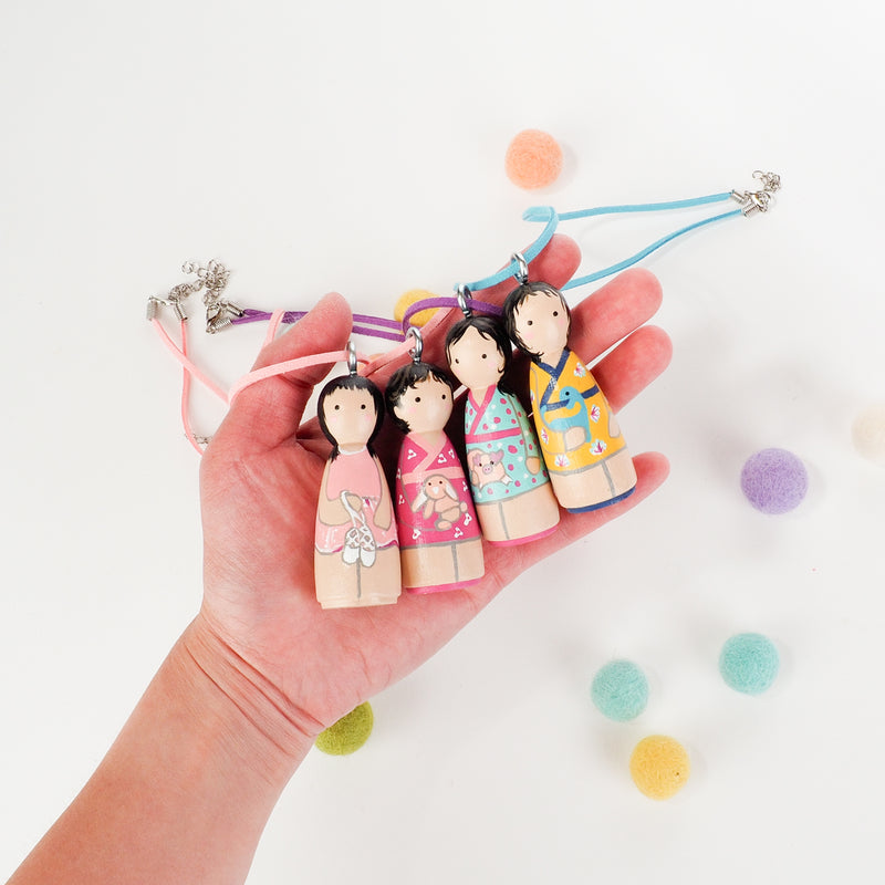 Personalized Peg Doll Necklace and Ornament