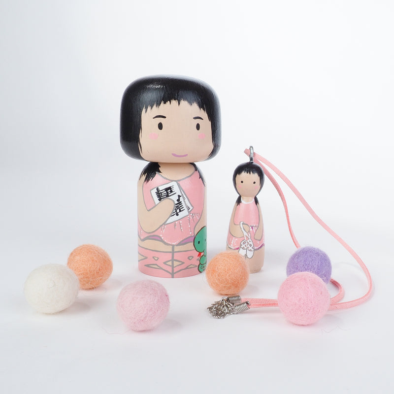 Personalized Peg Doll Necklace and Ornament, Kokeshi
