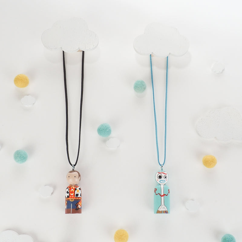 Personalized Peg Doll Necklace and Ornament - Woody