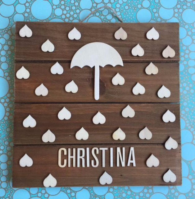 Wooden Baby Shower Umbrella Guest book