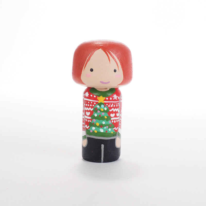 Ugly Christmas Sweater Family Peg Dolls and mini Kokeshi - Mini Family Portrait