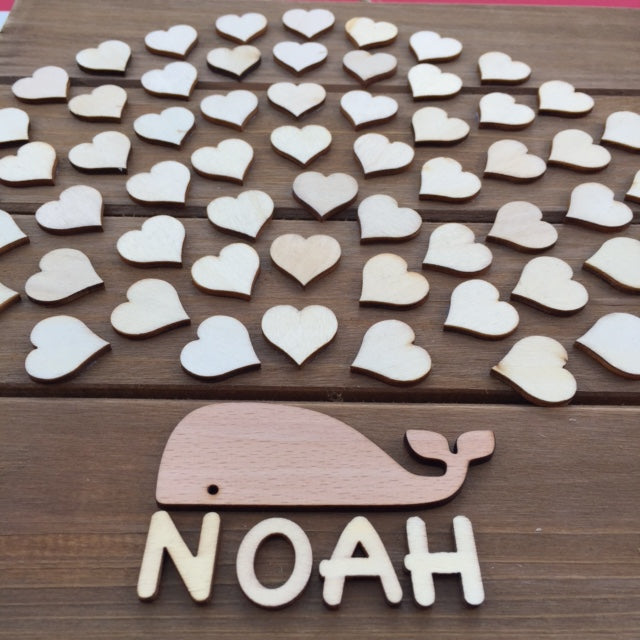 Wooden Whale Baby Shower Guest book
