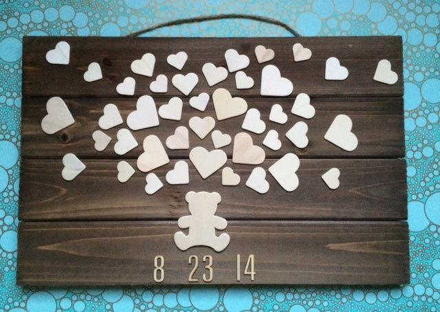 Wooden Teddy Bear Baby Shower Guest book