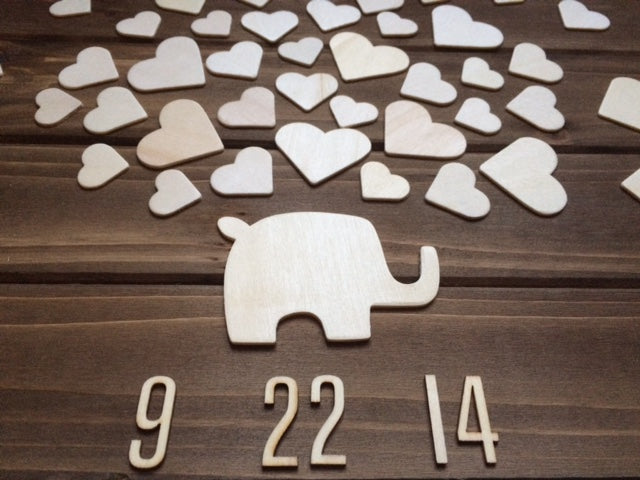 Wooden Elephant Baby Shower Guest book