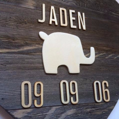 Personalized Wooden Elephant Kid's Decor