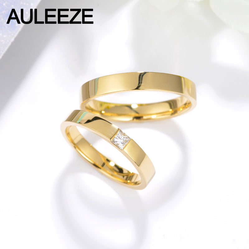 Auleeze Princess Cut Real Diamond Solid 18k Gold Couple Rings Dinkyconky