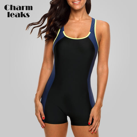 One Piece Sports Color-block Swimwear