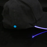 LED Lighted Glow Black Fabric Baseball Cap