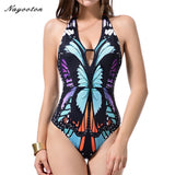 One piece Halter Top Ink Print Bathing Suits
