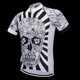 White Skull Printed Cycling Jersey Set or Skull Top Only
