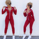 Women Sport Suit Bodysuit Long Sleeve Zipper Hooded Jumpsuits Playsuit