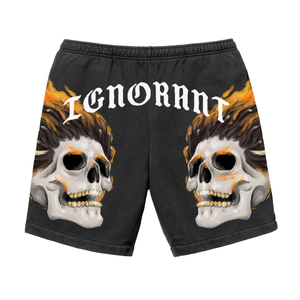 IGNORANT Skull Shorts - Black