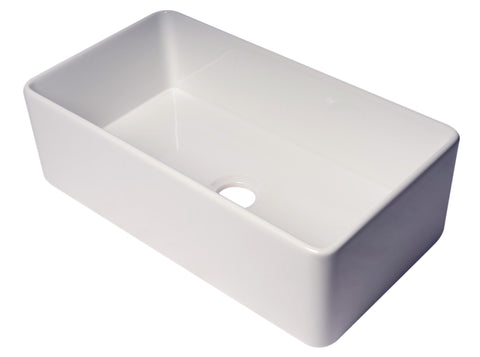 "Barkano 33"" Single Bowl White Farmhouse / Farm Kitchen Sink, Smooth, Apron Front"