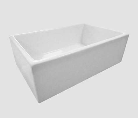 Fireclay Farm Farmhouse White 30 inch Single Bowl Apron Front Kitchen Sink, Reversible - Smooth or Fluted