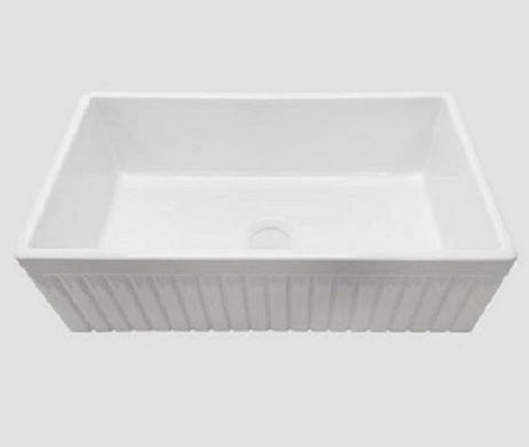 Fireclay Farm Farmhouse White 30 inch Single Bowl Apron Front Kitchen Sink, Fluted